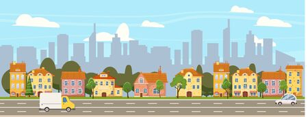 Urban cityscape old town historical buildings downtown background modern skyscrapers, road cars. Vector illustration , banner poster isolated 스톡 콘텐츠 - 133381242