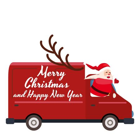 Santa Claus Merry Christmas drives a delivery van