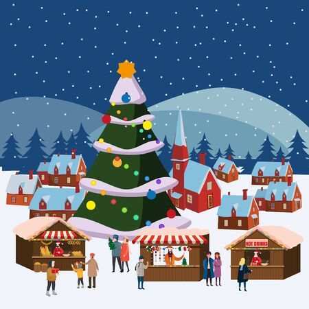 Christmas market or holiday winter outdoor fair on town square big New Year tree 스톡 콘텐츠 - 132673401