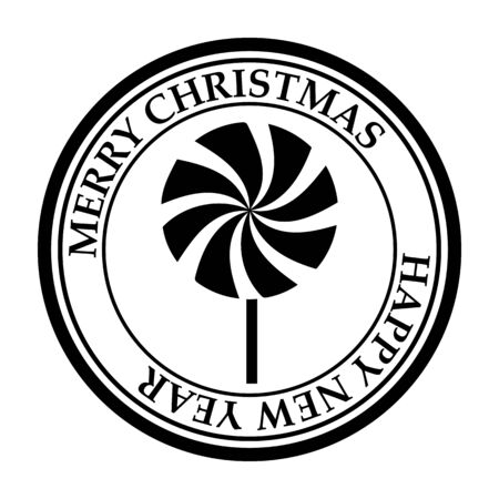 Merry Christmas and Happy New Year post stamp candy icon isolated on white vector