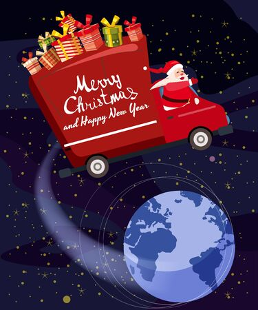 Merry Chrismas Santa Claus Van flies through the night sky above the Earth delivering gifts