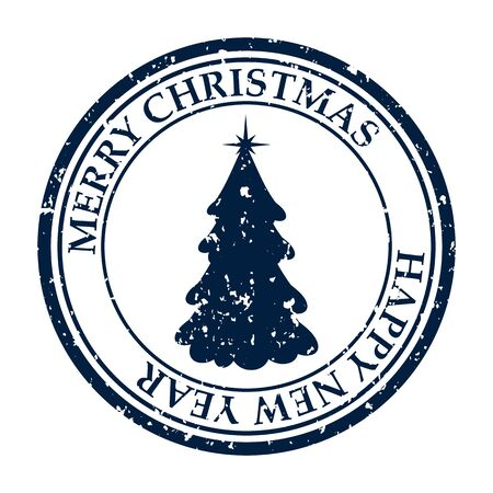 Merry Christmasand Happy New Year grunge dirty post stamp Xmas tree icon isolated on white vector