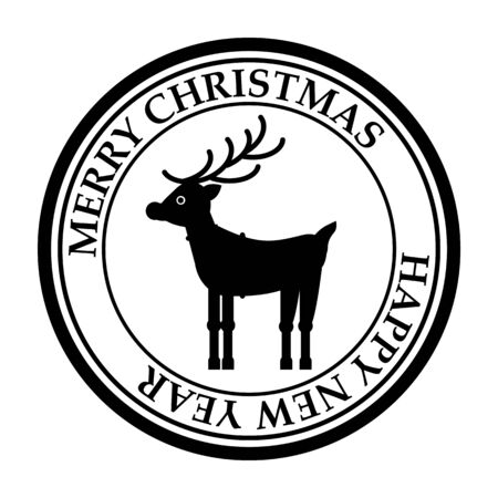 Merry Christmasand Happy New Year post stamp deer icon isolated on white vector