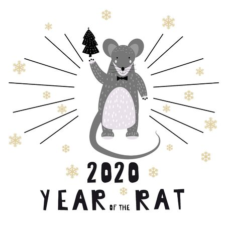2020 Chinese New Year of the Rat zodiac cute character greeting card template Scandinavian style. Vector illustration 스톡 콘텐츠 - 133381483