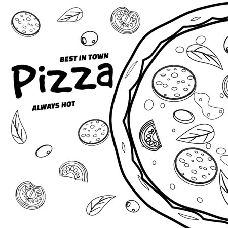 Pizza food menu for restaurant and cafe. Design in doodle lineart style template flyer baner with ingredients and text. Vector illustration for food menu or street food posters design, prints, web 스톡 콘텐츠 - 133381482