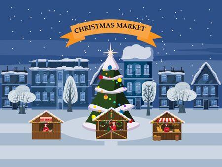 Christmas village, winter town, souvenirs market stalls with decorations souvenirs and bakery 일러스트