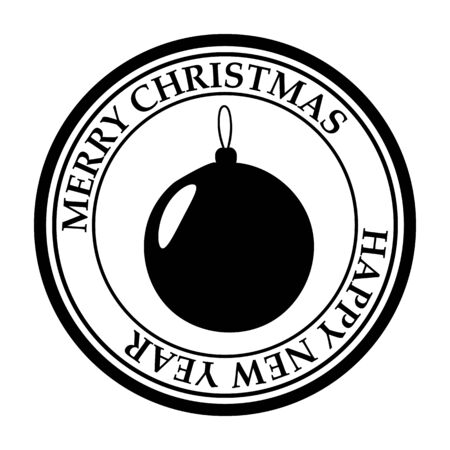 Merry Christmas and Happy New Year post stamp ball icon isolated on white vector