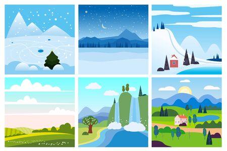 Calendar set landscape winter, summer in flat minimal simple style