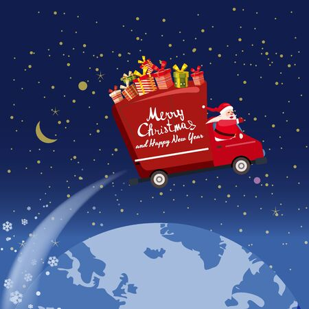Merry Chrismas Santa Claus Van flies through the night sky above the Earth delivering gifts. Flat cartoon style vector illustration greeting card poster banner 스톡 콘텐츠 - 133381500