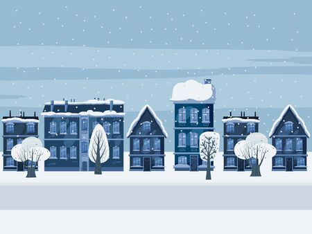 Urban winter city street with old town houses and trees