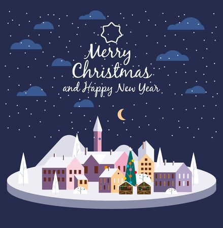 Merry Christmas urban night winter city street with old town houses and trees 스톡 콘텐츠 - 132811054