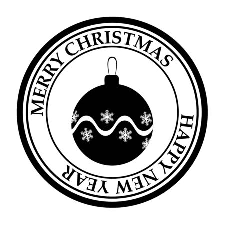 Merry Christmasand Happy New Year post stamp ball icon 스톡 콘텐츠 - 132819600