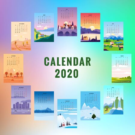 2020 Calendar minimalistic landscape natural backgrounds of four seasons. Winter wonderland, Fresh on Spring, Hot sunny day on Summer, Autumn with leaves falling. Set cartoon flat design 4 seasons background isolated