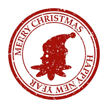 Merry Christmasand Happy New Year grunge dirty post stamp elf icon
