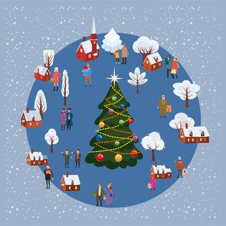 Christmas and New year winter village rural landscape with christmas tree people poster 일러스트