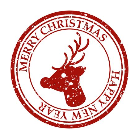 Merry Christmasand Happy New Year grunge dirty post stamp deer icon isolated on white vector