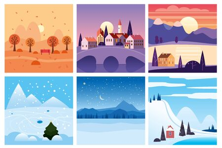 Calendar set landscape winter, autumn in flat minimal simple style 스톡 콘텐츠 - 132861150