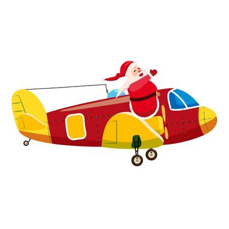 Santa Flying cargo airplane retro vintage. Ilustração