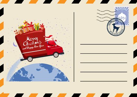 Christmas and New Year Postcard with stamps and mark. Van flies through the night sky 스톡 콘텐츠 - 132882168