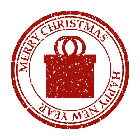 Merry Christmasand Happy New Year grunge dirty post stamp gift box icon