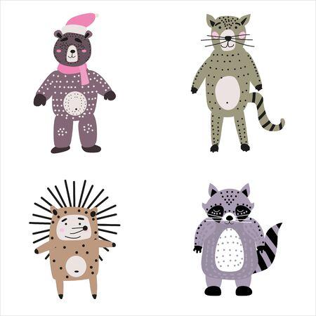 Set cartoon cute animals for kids in scandinavian style 일러스트