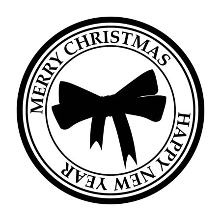 Merry Christmas And Happy New Year post stamp New Year s bow icon isolated on white vector