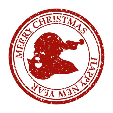 Merry Christmasand Happy New Year grunge dirty post stamp Santa Claus icon 스톡 콘텐츠 - 132994367