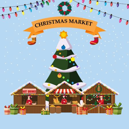 Christmas souvenirs market stalls with decorations souvenirs and bakery 스톡 콘텐츠 - 132995306