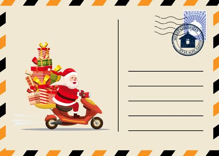 Christmas and New Year Postcard with stamps and mark