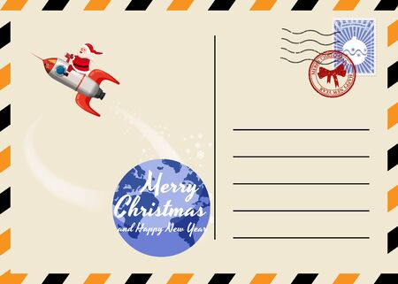 Christmas and New Year Postcard with stamps and mark. Santa Claus Rocket flies through the night sky above the Earth. Flat cartoon style vector illustration greeting card poster banner 스톡 콘텐츠 - 133381854