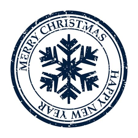 Merry Christmas And Happy New Year grunge dirty post stamp snowflakes icon isolated on white vector 일러스트