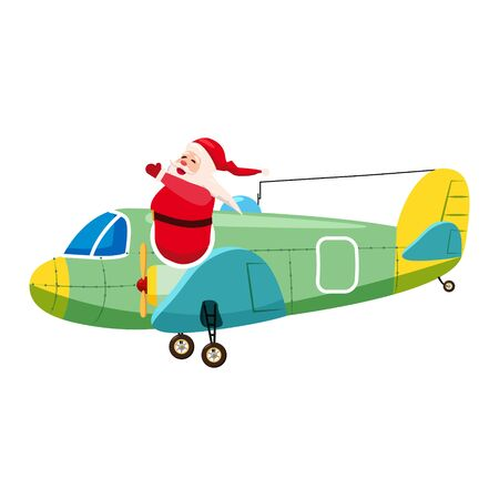 Santa Flying cargo airplane retro vintage. Vector isolated cartoon style