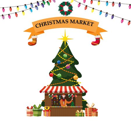 Christmas souvenirs market stall with decorations. Big Christmas tree Xmas shop with garlands decorations