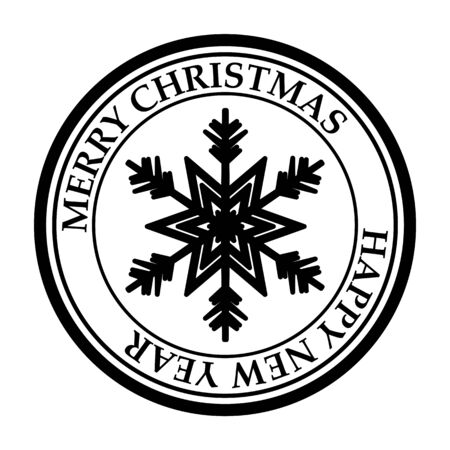 Merry Christmas and Happy New Year post stamp snowflake icon