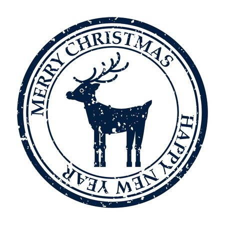 Merry Christmas and Happy New Year grunge dirty post stamp deer icon isolated on white vector