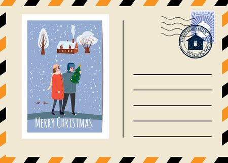 Christmas and New Year Postcard with stamps and mark 스톡 콘텐츠 - 133175861