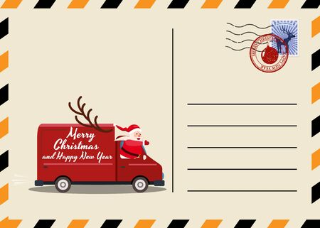 Christmas and New Year Postcard with stamps and mark. Van Santa Claus as the driver delivering gifts. Flat cartoon style vector illustration greeting card poster banner 스톡 콘텐츠 - 133381324