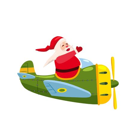 Santa Flying airplane retro vintage.