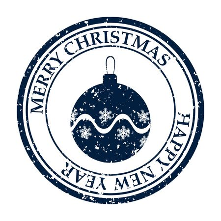 Merry Christmasand Happy New Year grunge dirty post stamp ball icon