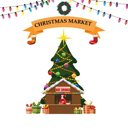 Christmas stall with with food and hot drinks. Big Christmas tree Xmas shop with garlands decorations