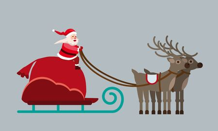 Santa Claus on a sleigh with deers and a huge bag of gifts. Vector isolated flat cartoon style illustration vector