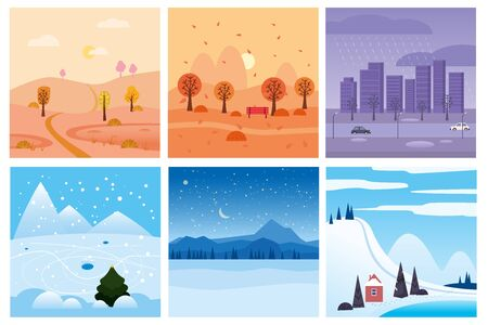 Calendar set landscape winter, autumn in flat minimal simple style - season banners poster cover template. Vector isolated Illustration
