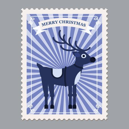 Merry Christmas retro postage stamp with deer. Vector illustration isolated