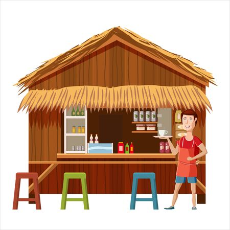 Warung street cafe restaurant with seller man, small family owned business, store shop. Vector isolated cartoon style