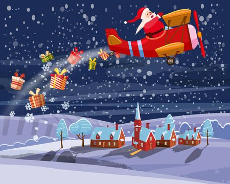 Santa Claus flying on retro airplane delivering gifts in the night sky over the city. Illustration vector isolated cartoon style poster banner template