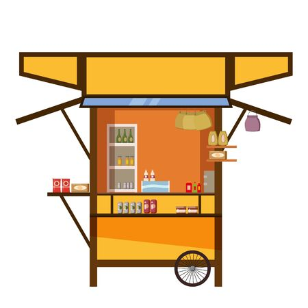 Warung street food cart cafe restaurant small family owned business, store shop. Vector isolated cartoon style