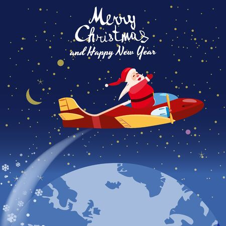 Santa Claus flying speed retro plane flies delivering gifts in space above the Earth. Illustration vector isolated cartoon style poster banner template