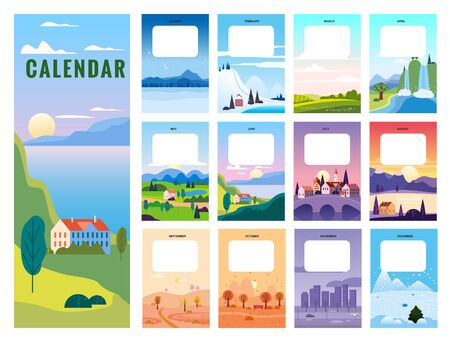 Calendar template minimalistic landscape natural backgrounds of four seasons. Winter wonderland, Fresh on Spring, Hot sunny day on Summer, Autumn with leaves falling. Set cartoon flat design seasons background isolated Illustration