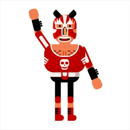 Fighter Lucha Libre Mexican Wrestler Battle Acrobat Character. Vector Illustration Flat Cartoon Isolated Archivio Fotografico - 134068527