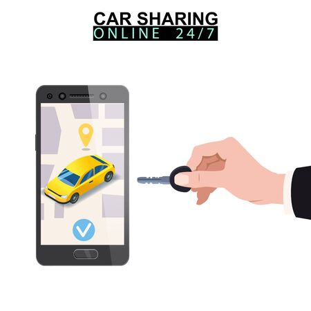 Car sharing isometric. Hand hold key smartphone screen with city map route and points location yellow car. Online mobile application order service. Vector illustration for car sharing service advertisement, promotion